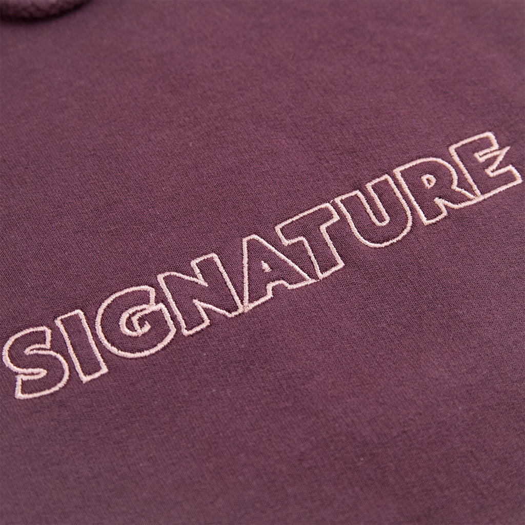 Signature Clothing Outline Logo Embroidered Hoodie in Wild Mulberry / Pink - Embroidery