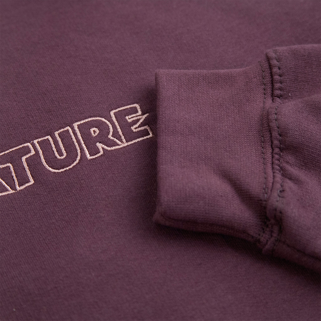 Signature Clothing Outline Logo Embroidered Hoodie in Wild Mulberry / Pink - Sleeve