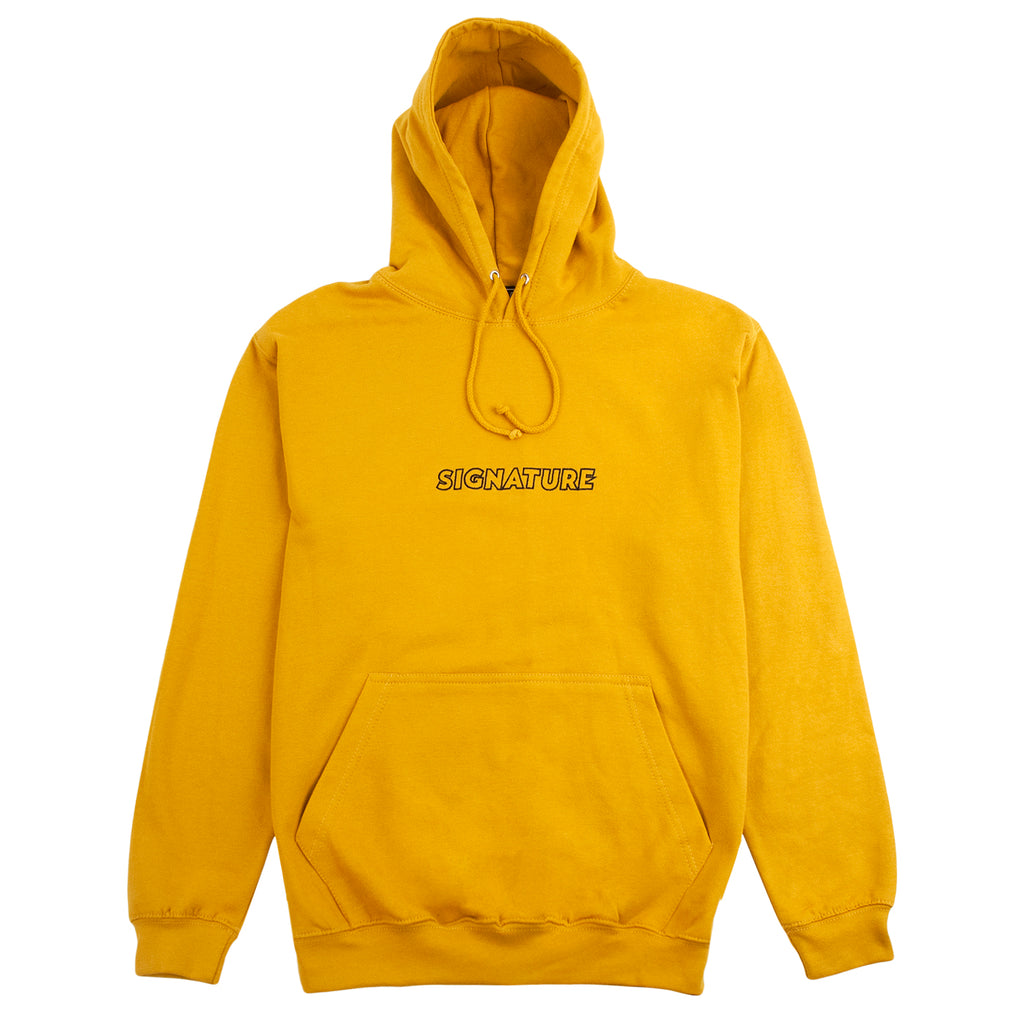 Signature Clothing Outline Logo Embroidered Hoodie in English Mustard / Black