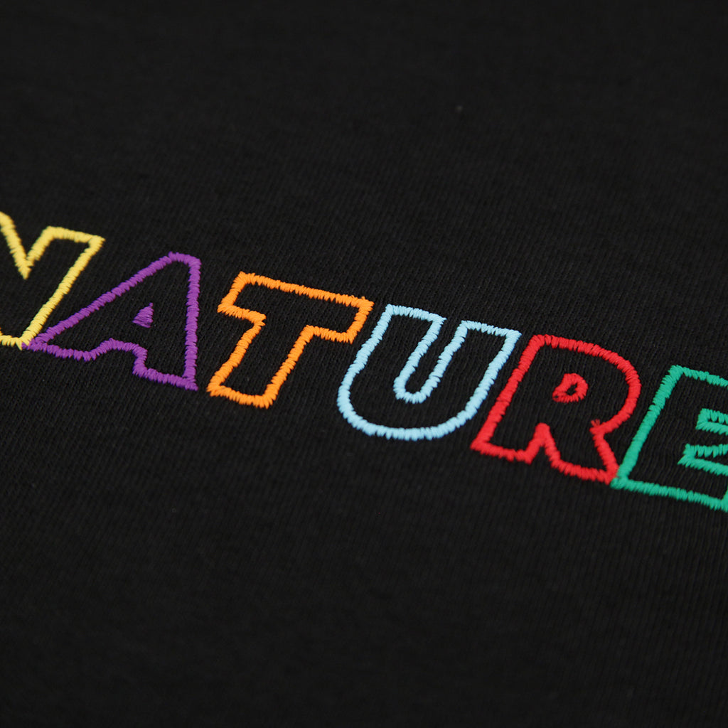 Signature Clothing Outline Logo Embroidered T Shirt in Black / Multi - Embroidery detail