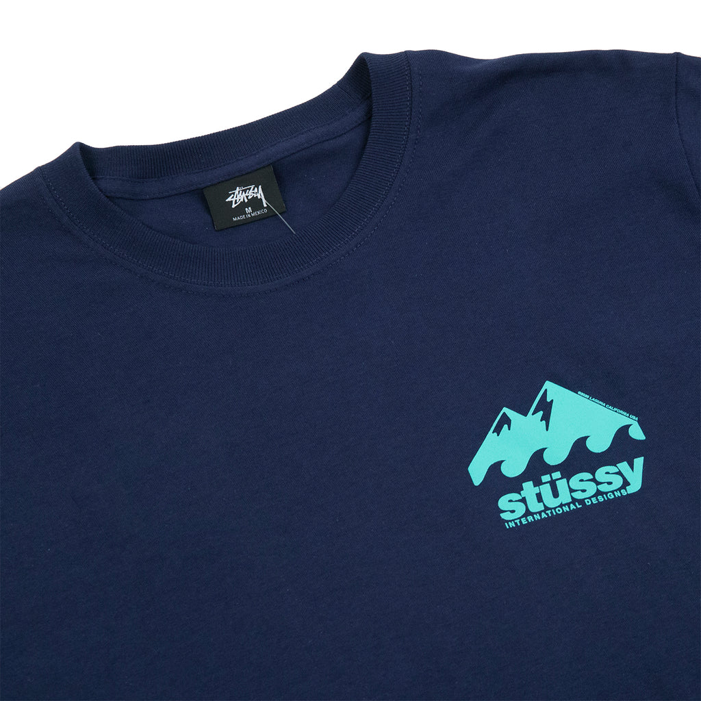 Stussy Coastline T Shirt in Navy - Detail