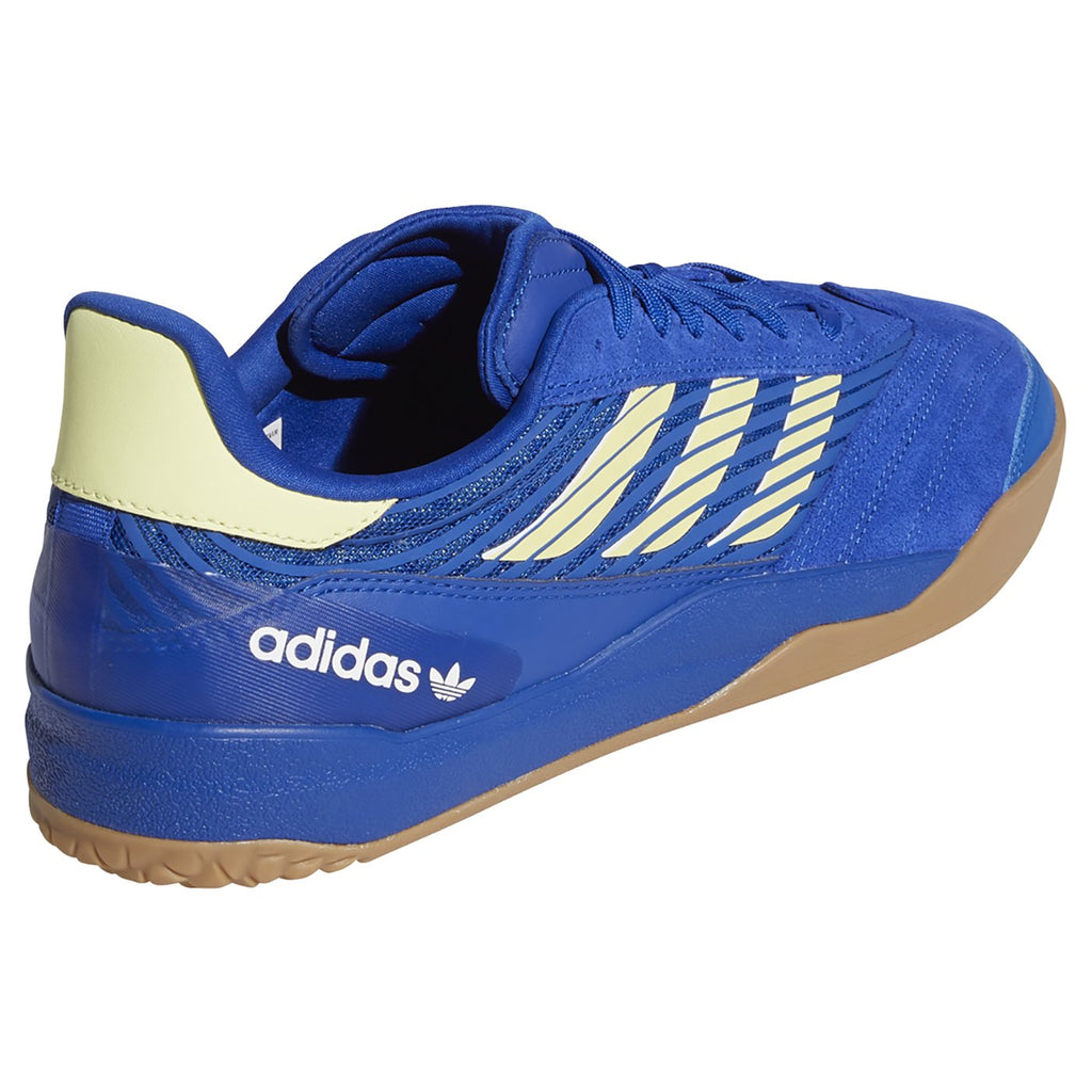 Adidas Skateboarding Copa Nationale Shoes in Royal Blue / Yellow Tint / Footwear White - Heel