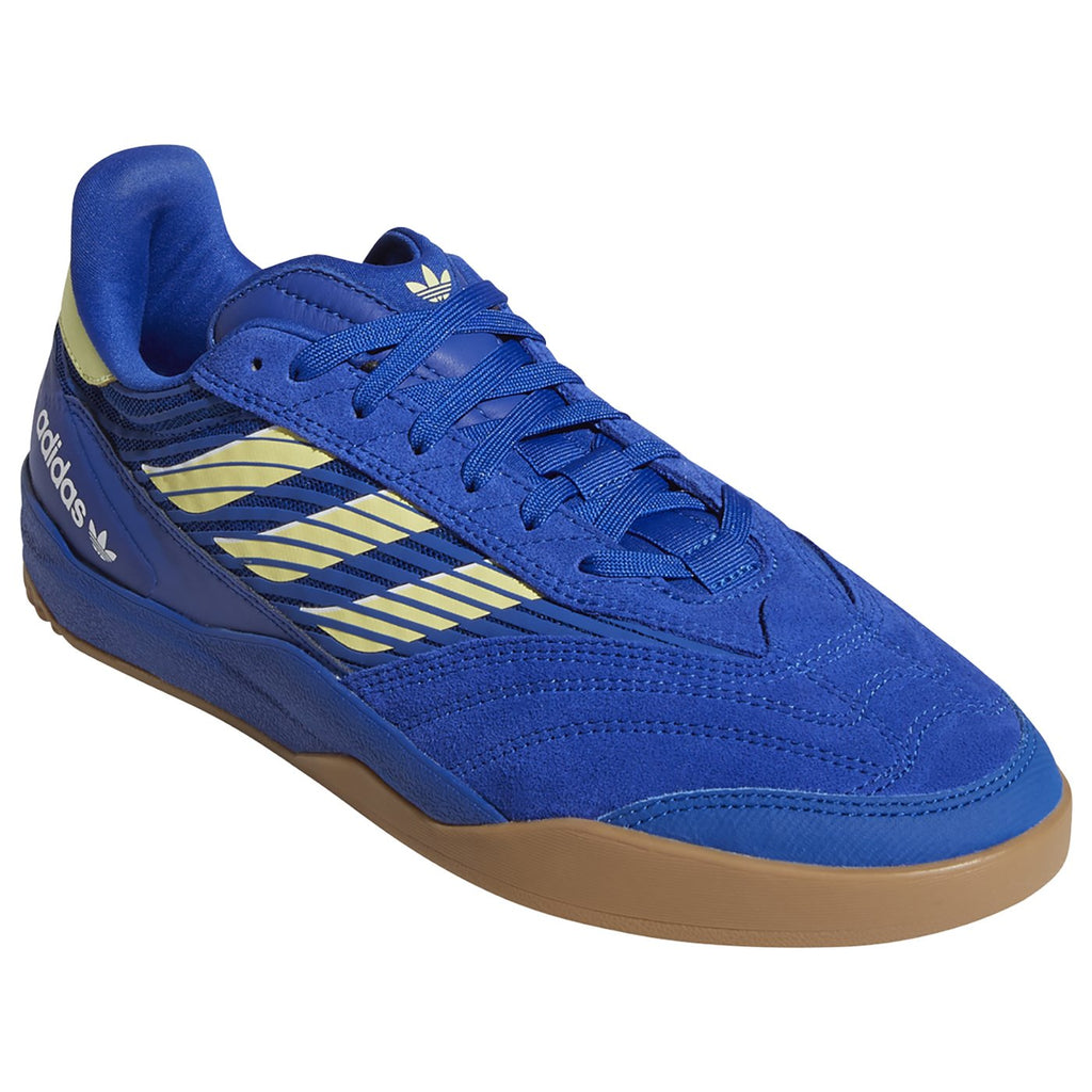Adidas Skateboarding Copa Nationale Shoes in Royal Blue / Yellow Tint / Footwear White - Front