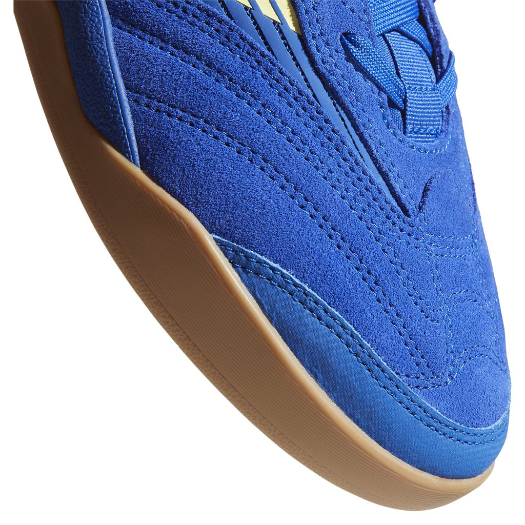 Adidas Skateboarding Copa Nationale Shoes in Royal Blue / Yellow Tint / Footwear White - Toe