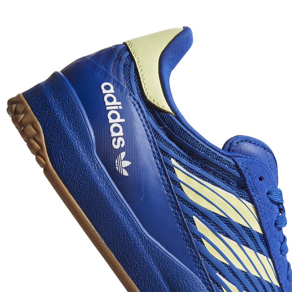 Adidas Skateboarding Copa Nationale Shoes in Royal Blue / Yellow Tint / Footwear White - Logo