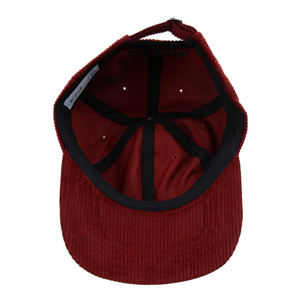 Polar Skate Co Corduroy Cap in Red - Inside