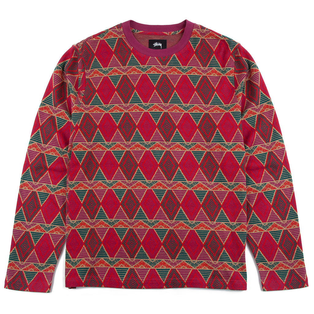 Stussy L/S Cuzco Crew in Berry