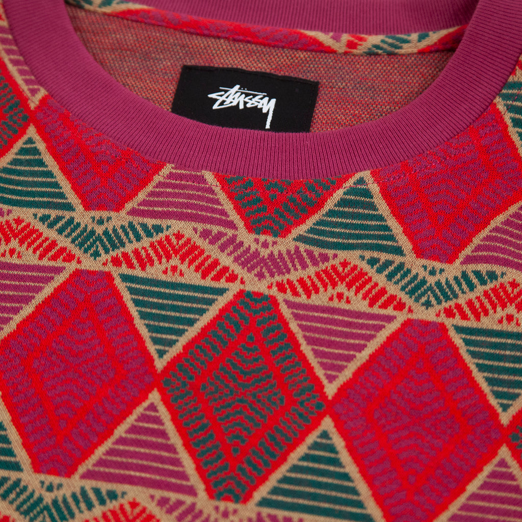 Stussy L/S Cuzco Crew in Berry - Neck