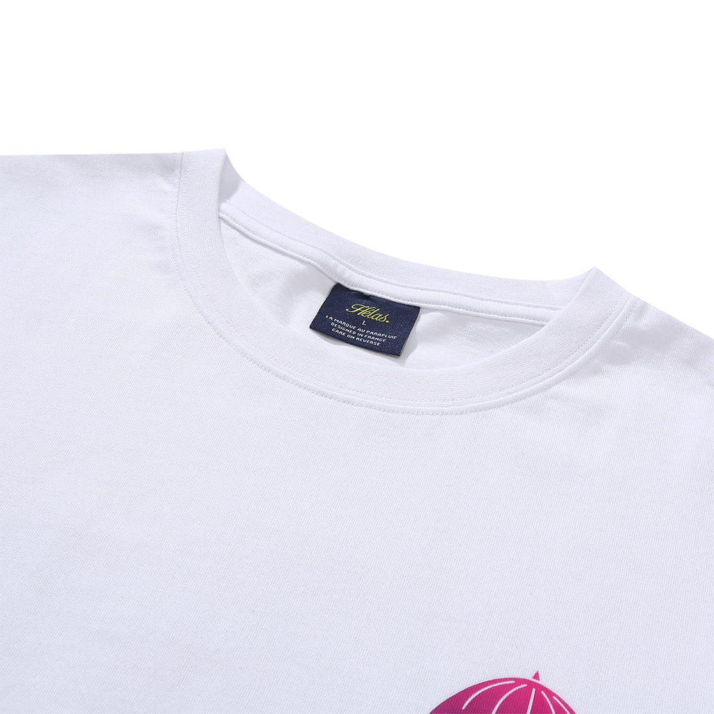 Helas L/S Degrade T Shirt in White - Collar