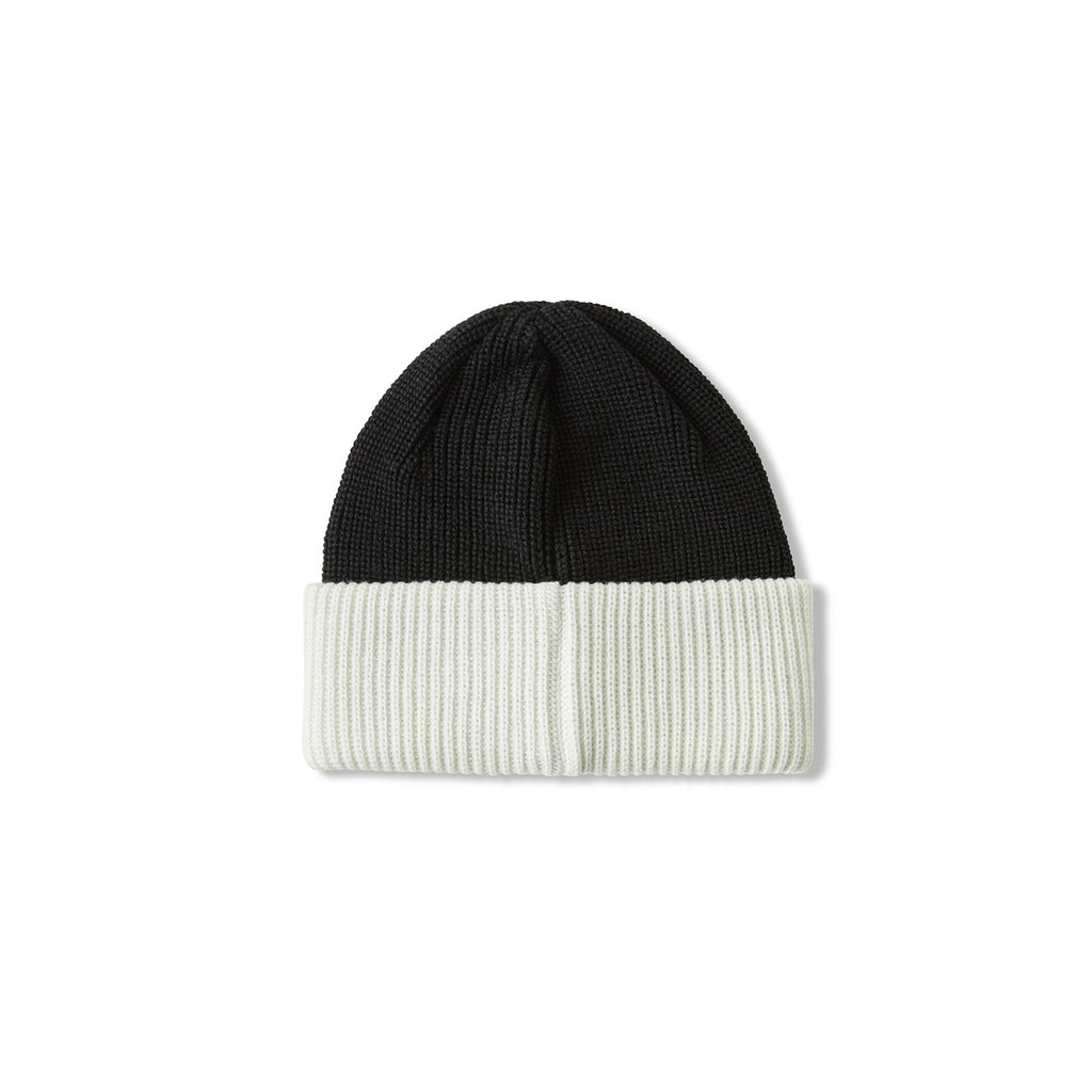 Polar Skate Co Double Fold Merino Beanie in Black / White - Back