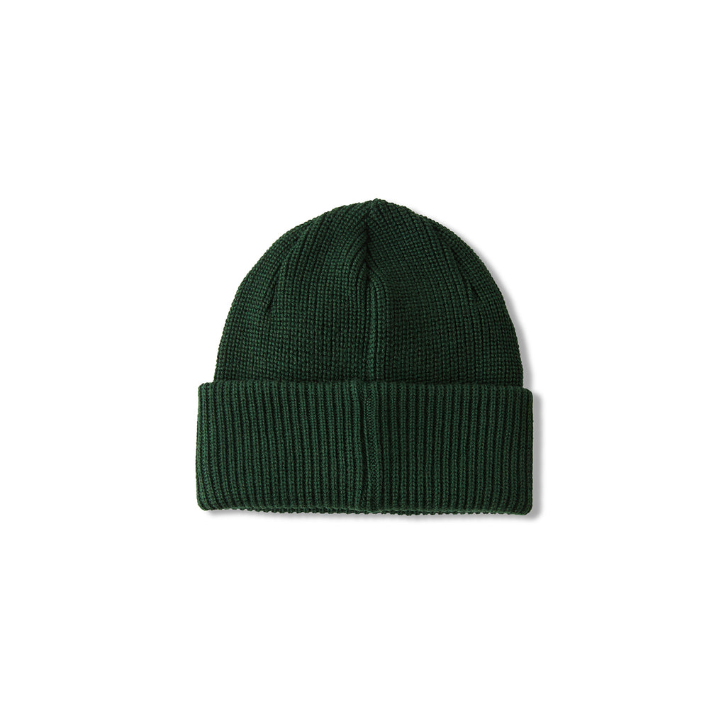 Polar Skate Co Double Fold Merino Beanie in Hunter Green - Detail