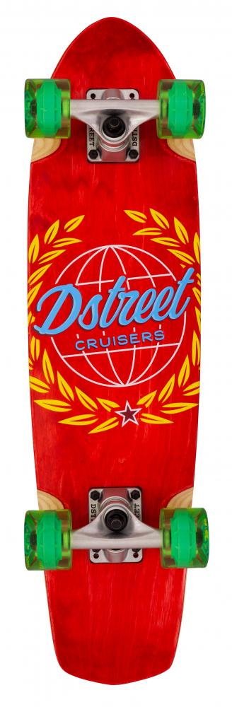 "D Street Cruiser Atlas Complete Skateboard 7.5"" in Red - Bottom"