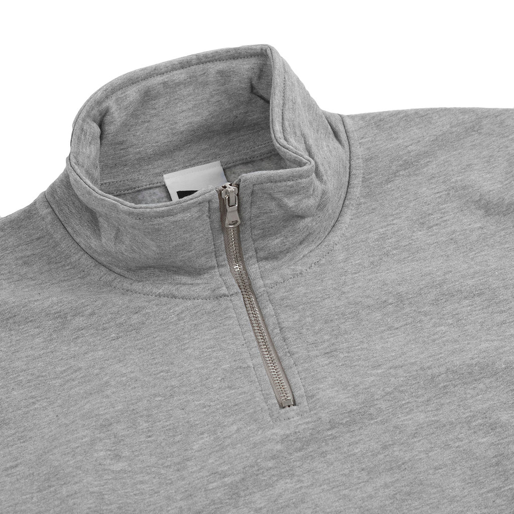 Bored of Southsea Daily Use Quarter Zip Sweatshirt in Heather Grey - Detail