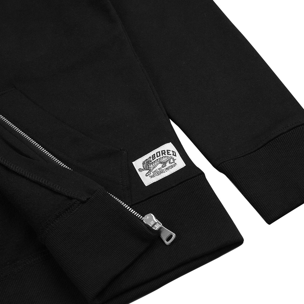 Bored of Southsea Daily Use Zip Up Hoodie in Black - Detail