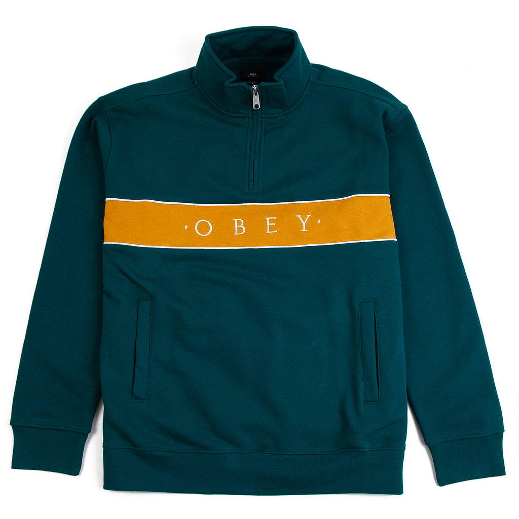 Obey Clothing Deal Mock Neck Sweat in Deep Teal