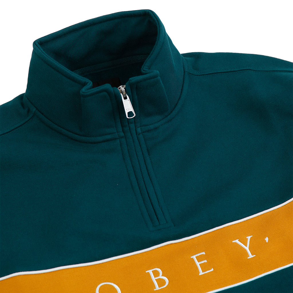 Obey Clothing Deal Mock Neck Sweat in Deep Teal - Detail
