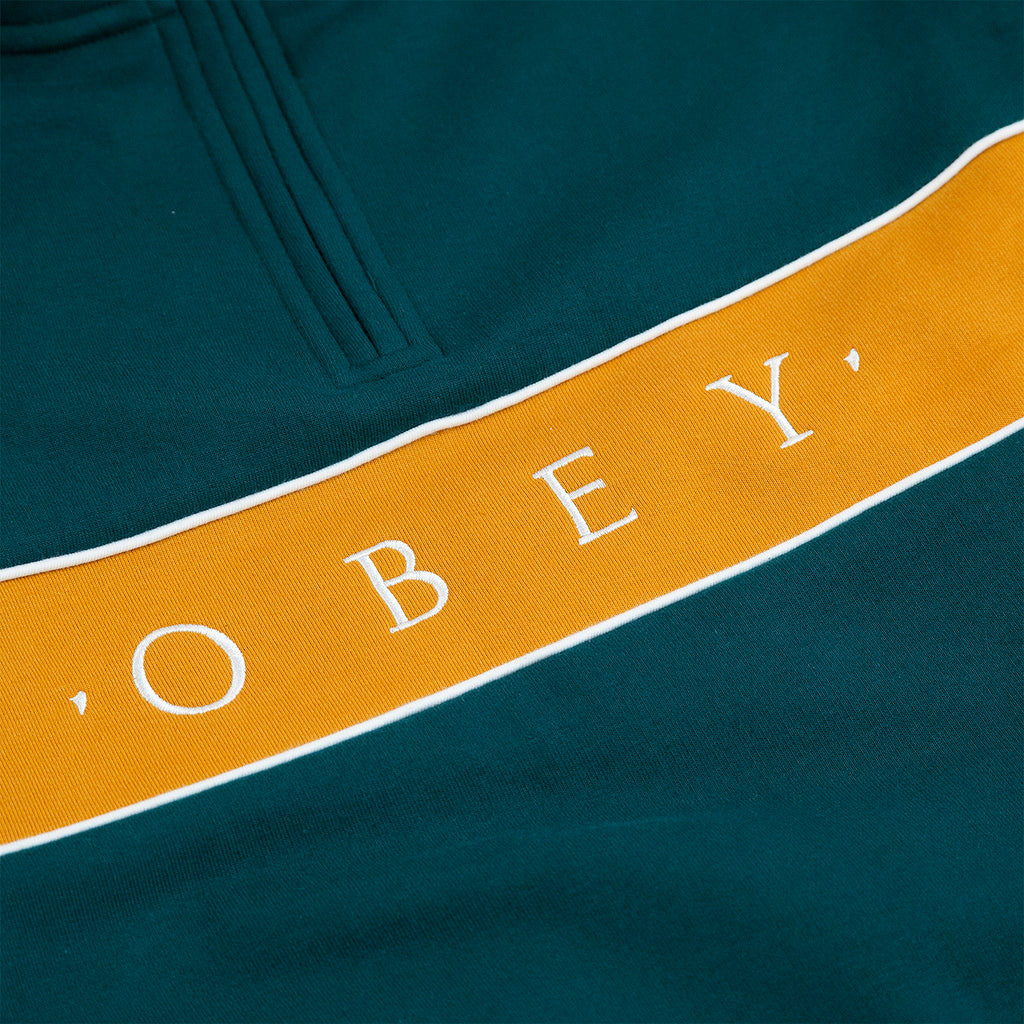 Obey Clothing Deal Mock Neck Sweat in Deep Teal - Embroidery