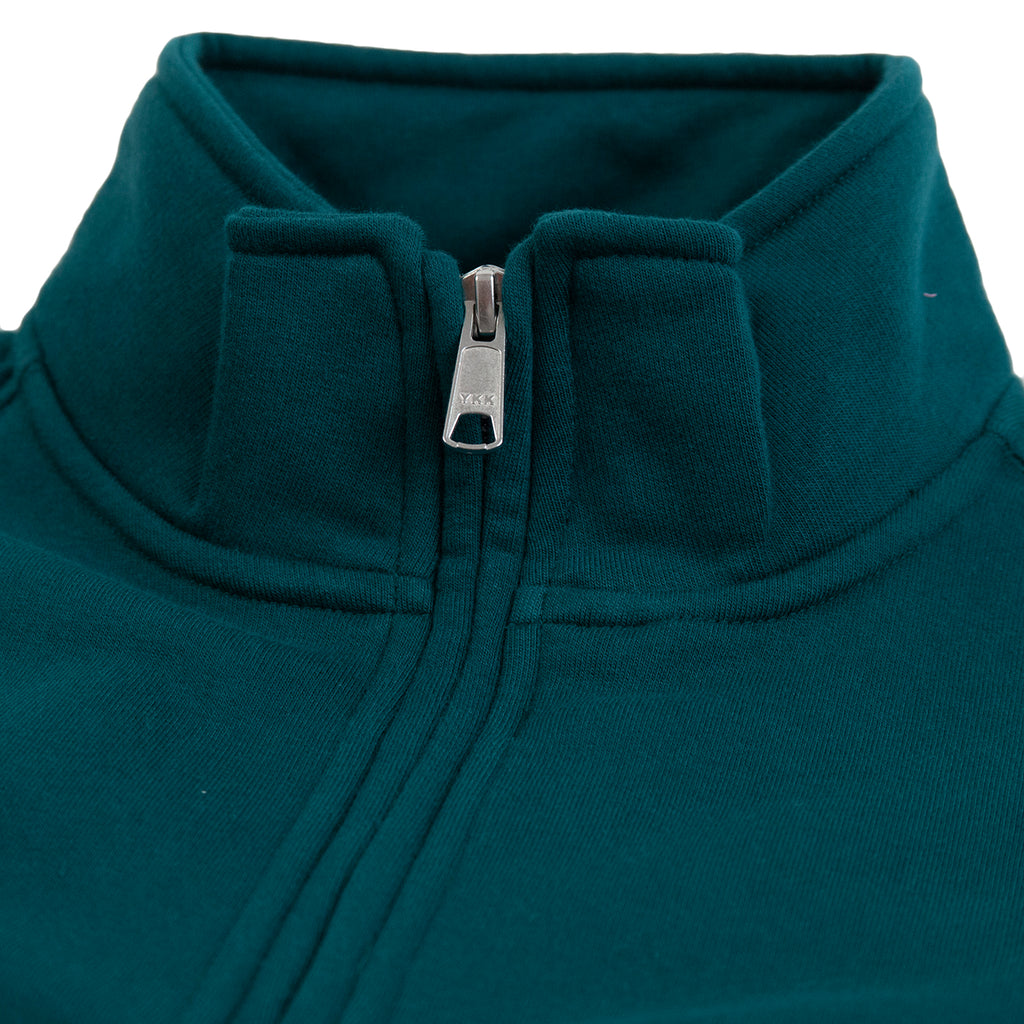 Obey Clothing Deal Mock Neck Sweat in Deep Teal - Collar