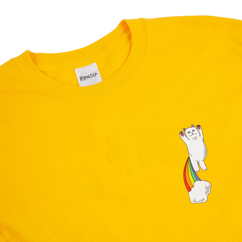 RIPNDIP L/S Double Nerm Rainbow T Shirt in Gold - Detail