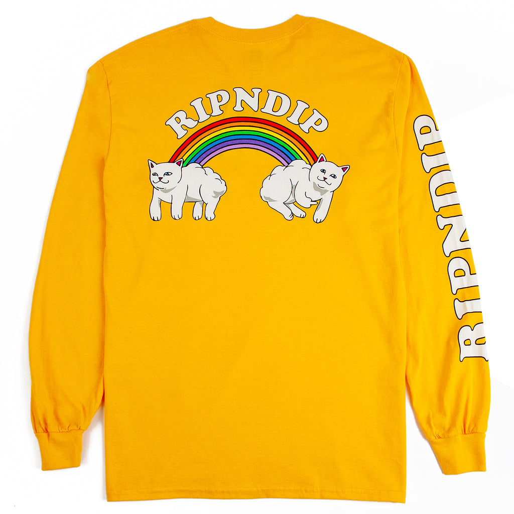 RIPNDIP L/S Double Nerm Rainbow T Shirt in Gold