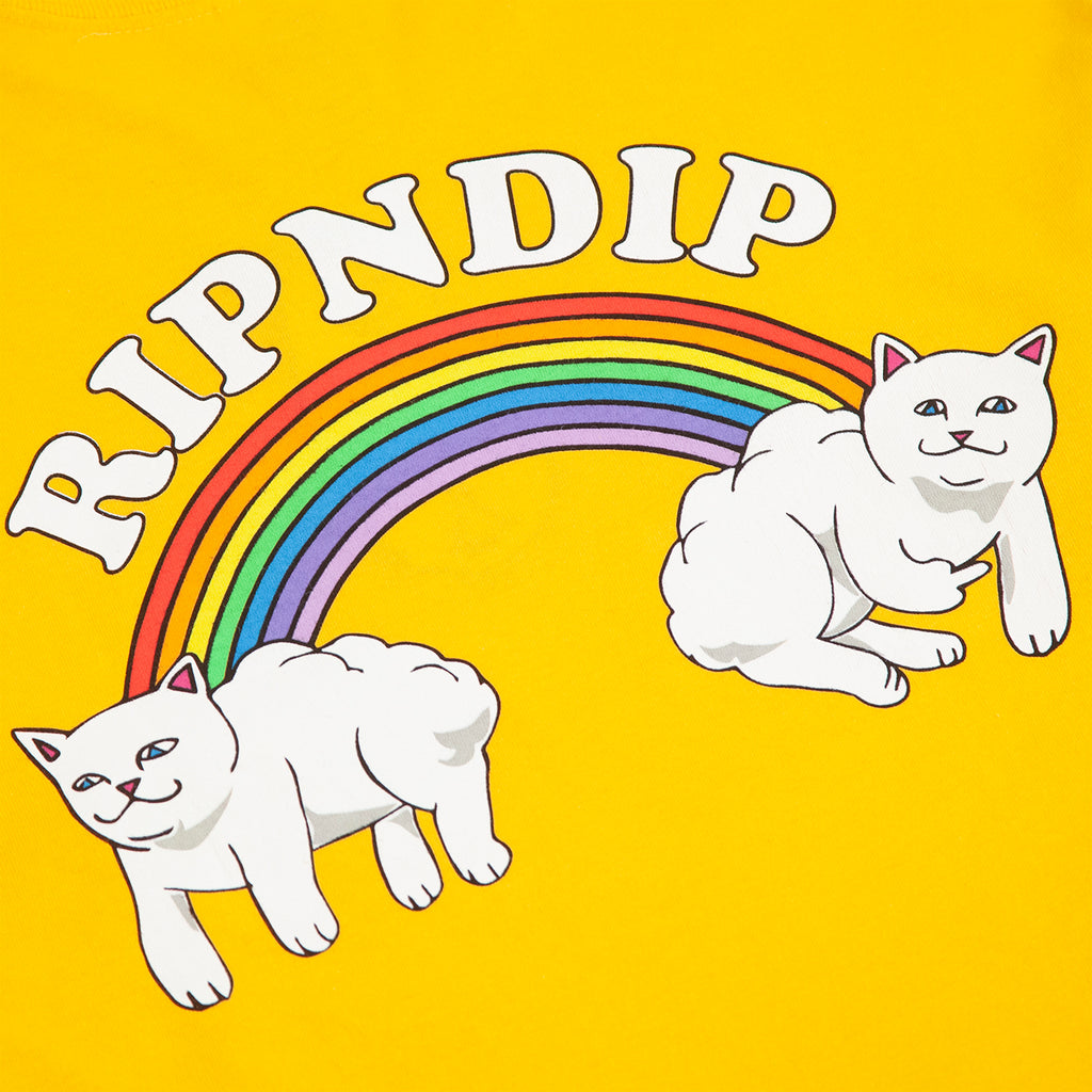 RIPNDIP L/S Double Nerm Rainbow T Shirt in Gold - Back Print