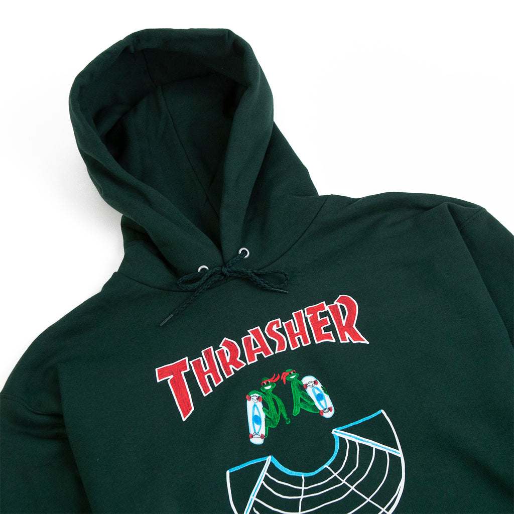 Thrasher Doubles Hoodie in Green - Detail