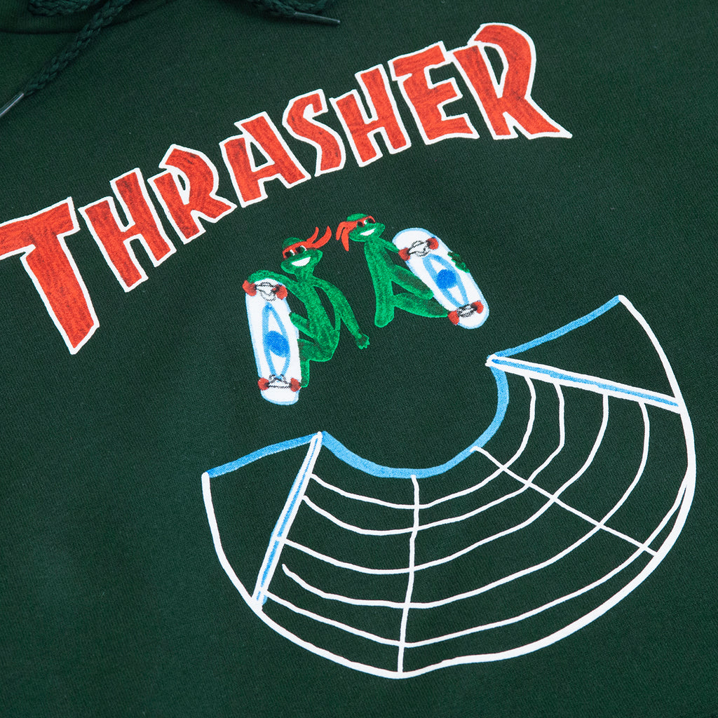 Thrasher Doubles Hoodie in Green - Print