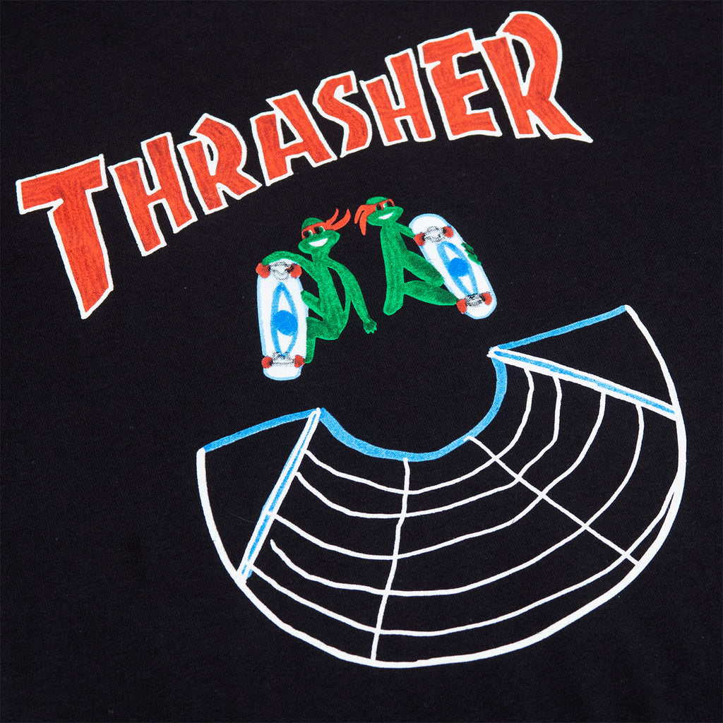 Thrasher Doubles T Shirt in Black - Print