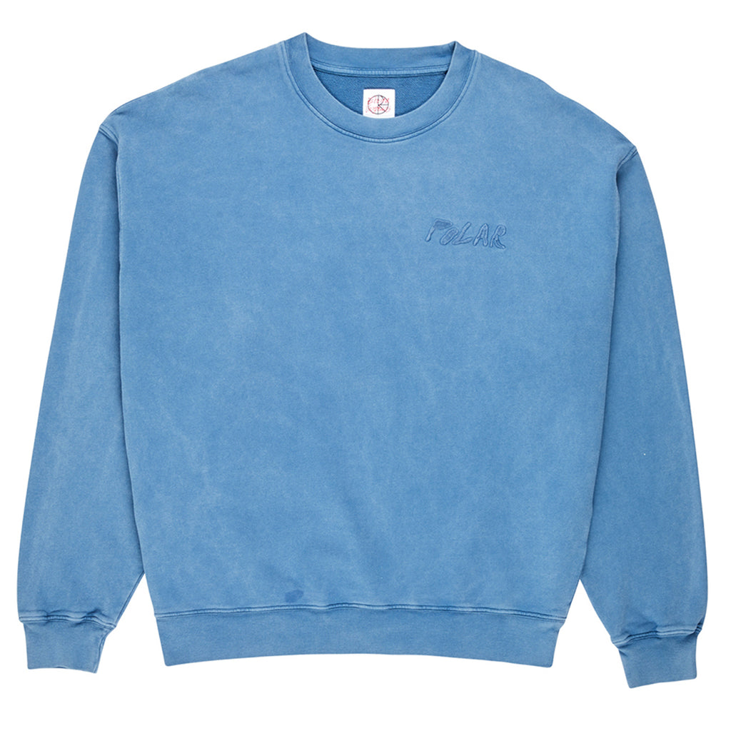 Polar Skate Co Garment Dyed Crewneck Sweatshirt in Blue