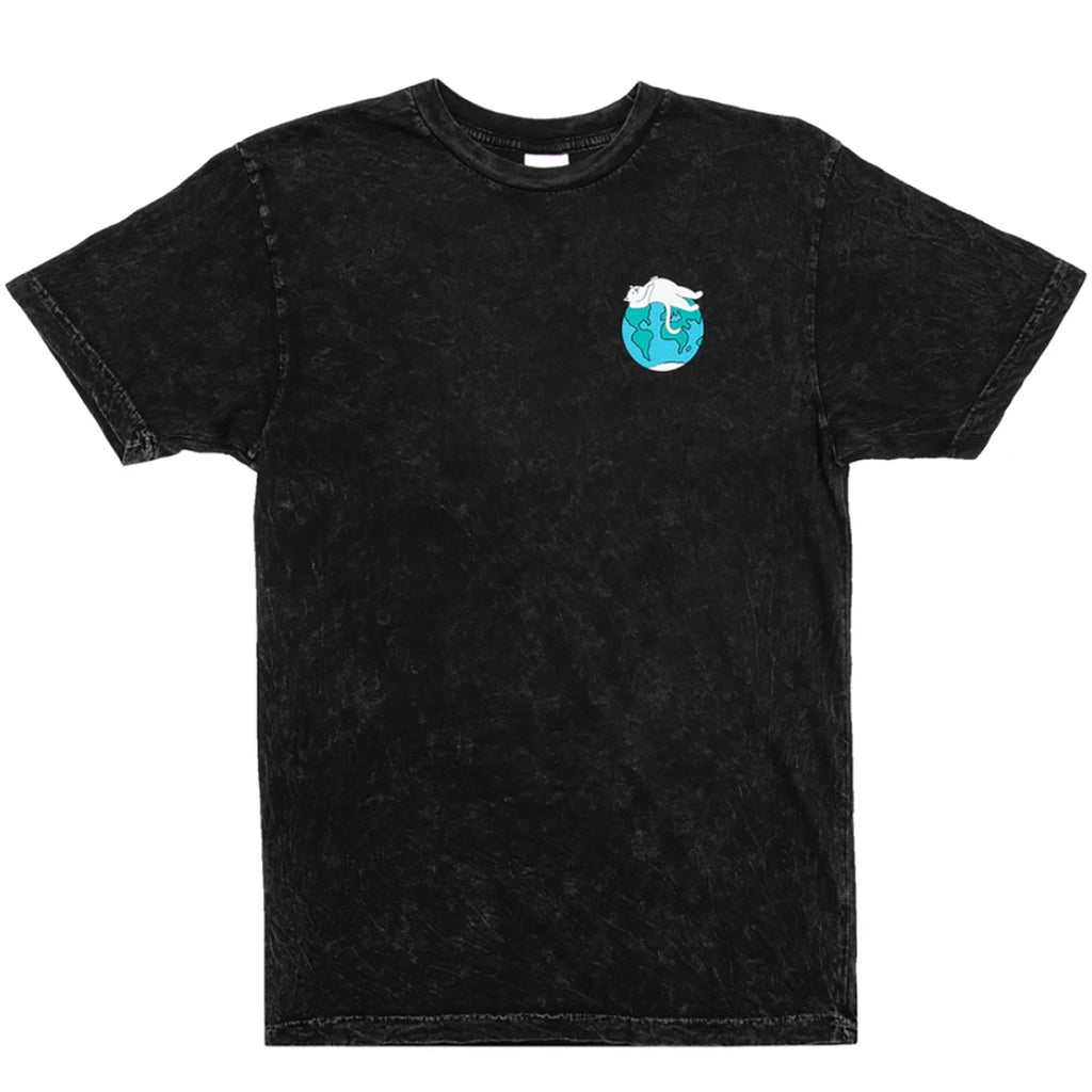 RIPNDIP Earthgazing T Shirt in Black Mineral Wash - Front