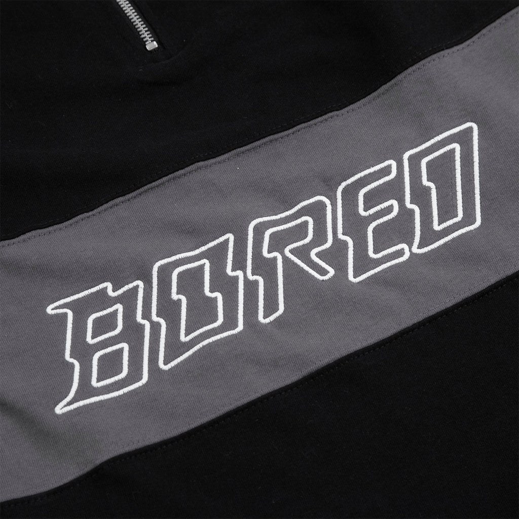 Bored of Southsea Electric Mock Neck Zip in Black - Embroidery