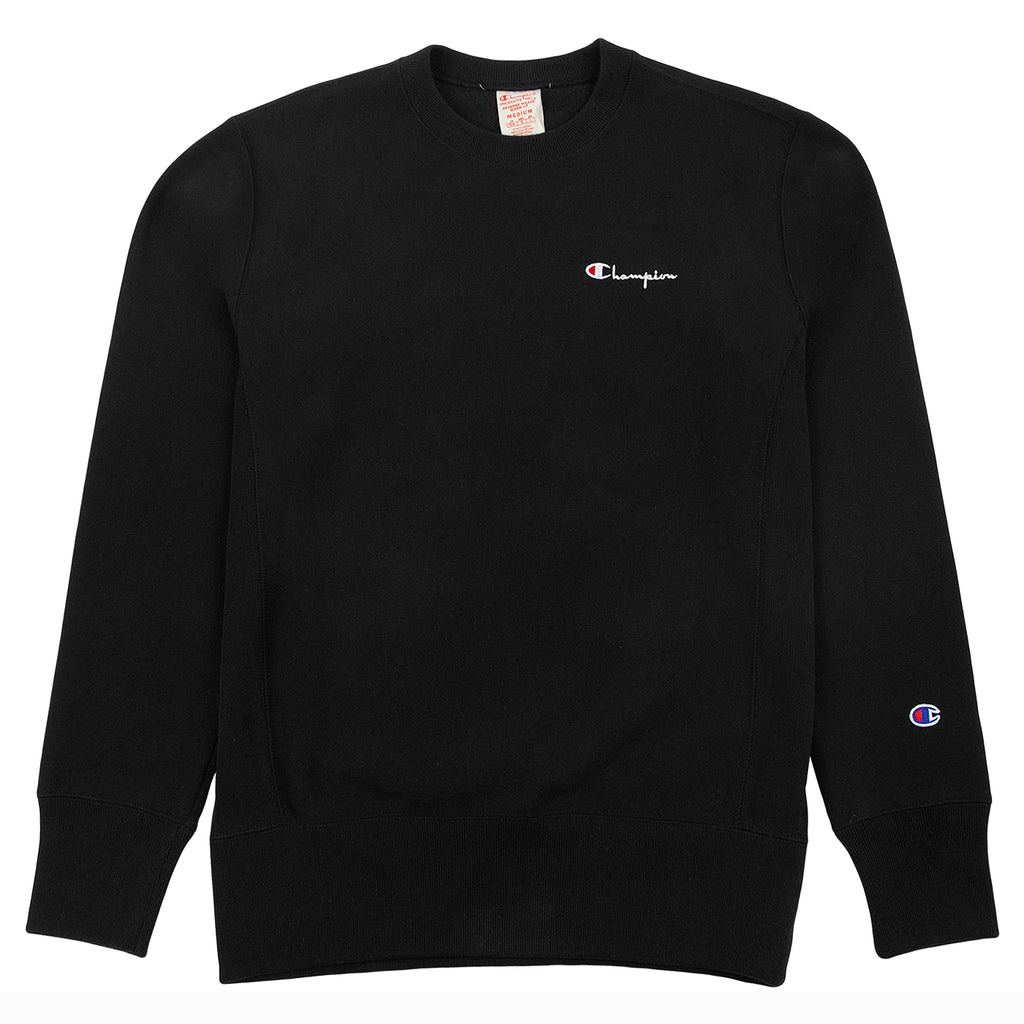 Champion Reverse Weave Vertical Script Logo Crewneck Sweatshirt in Black