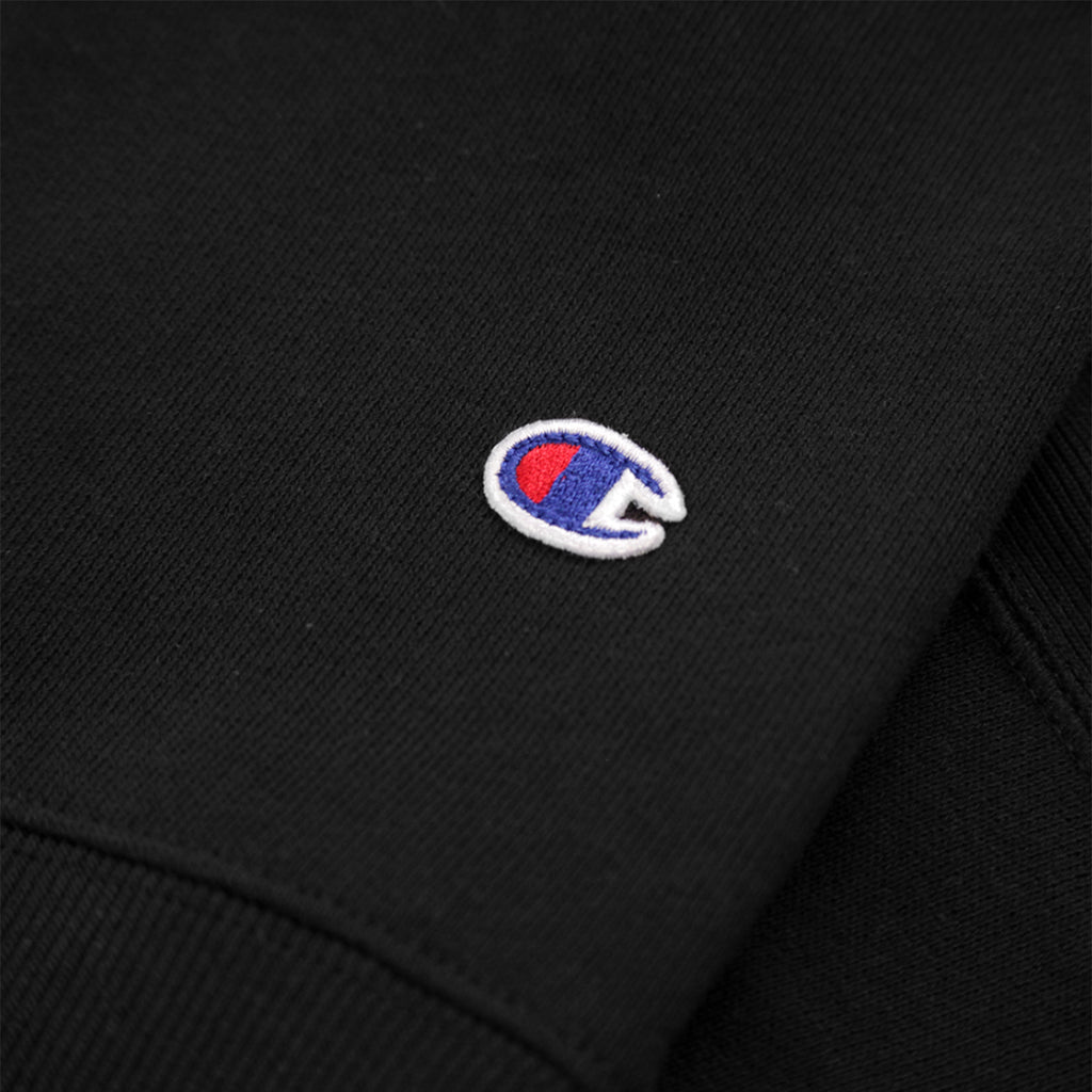 Champion Reverse Weave Vertical Script Logo Crewneck Sweatshirt in Black - Patch