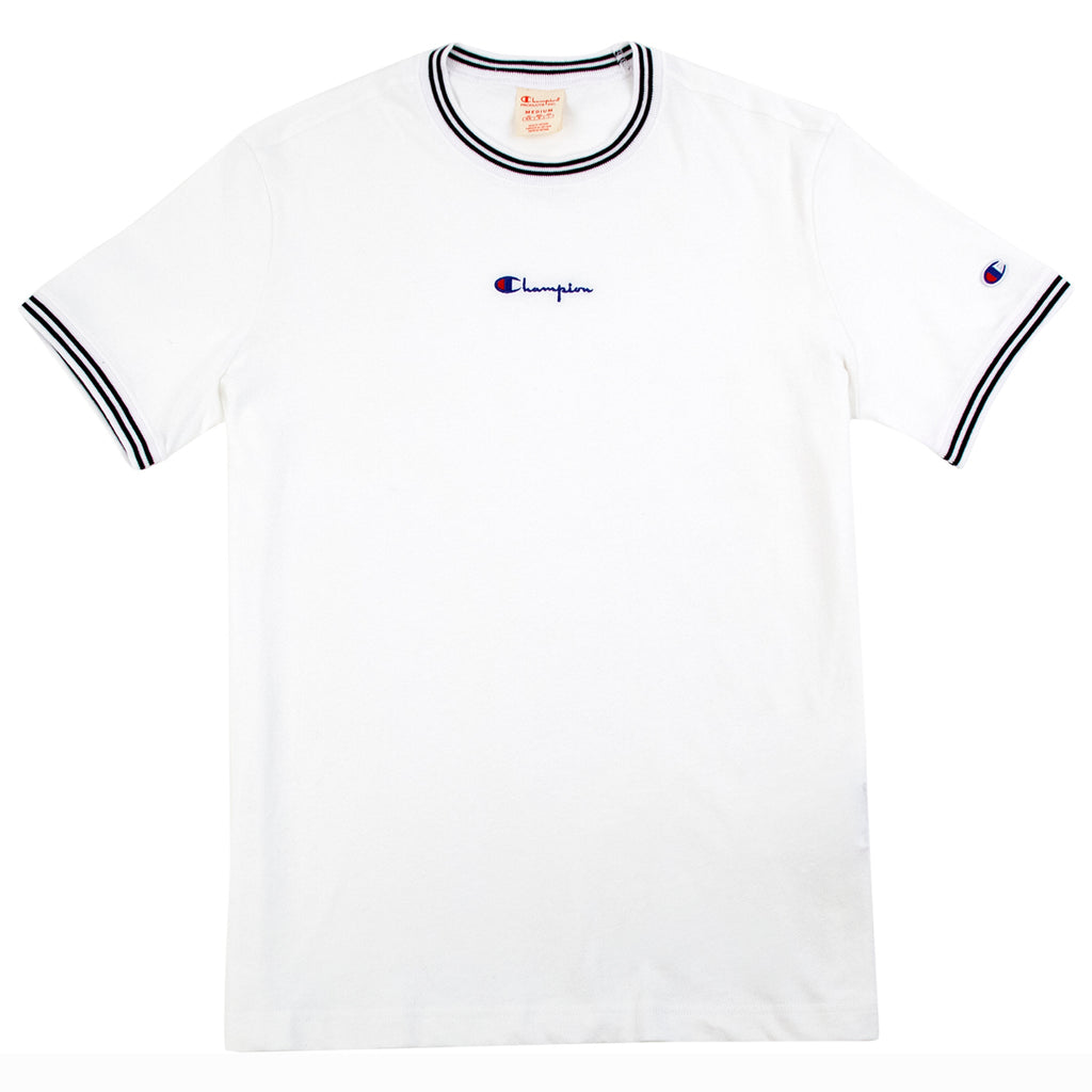 Champion Reverse Weave Small Script Logo T Shirt in White