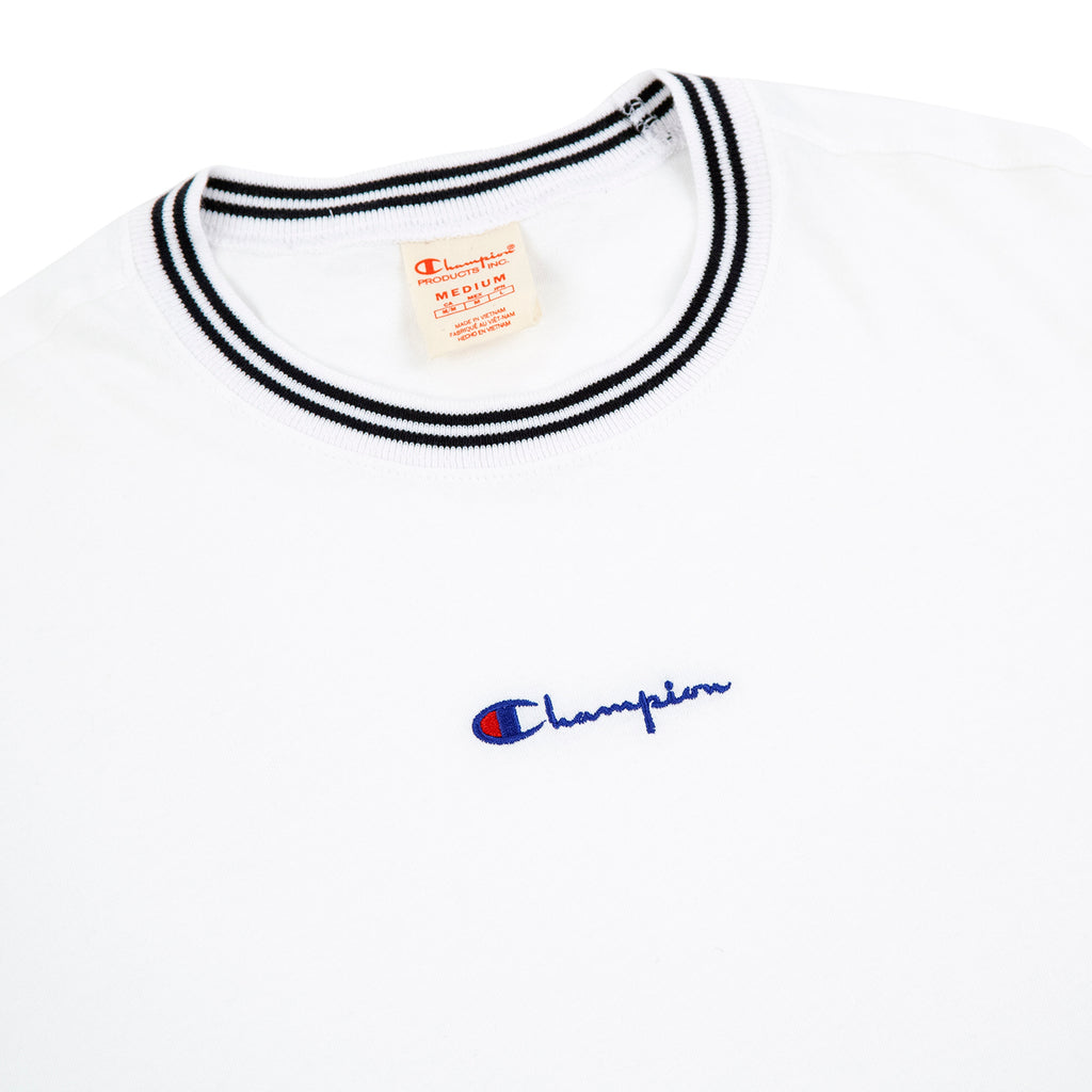 122d25623 Small Script Logo T Shirt in White by Champion Reverse Weave | Bored ...