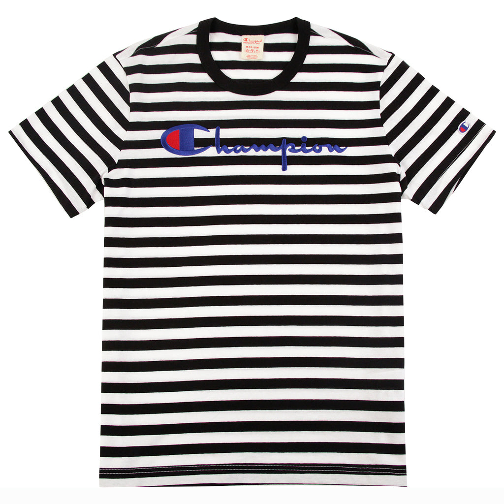 Champion Reverse Weave Striped Script Logo T Shirt in Black / White