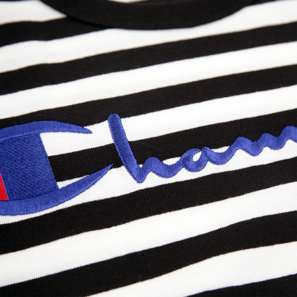Champion Reverse Weave Striped Script Logo T Shirt in Black / White - Embroidery
