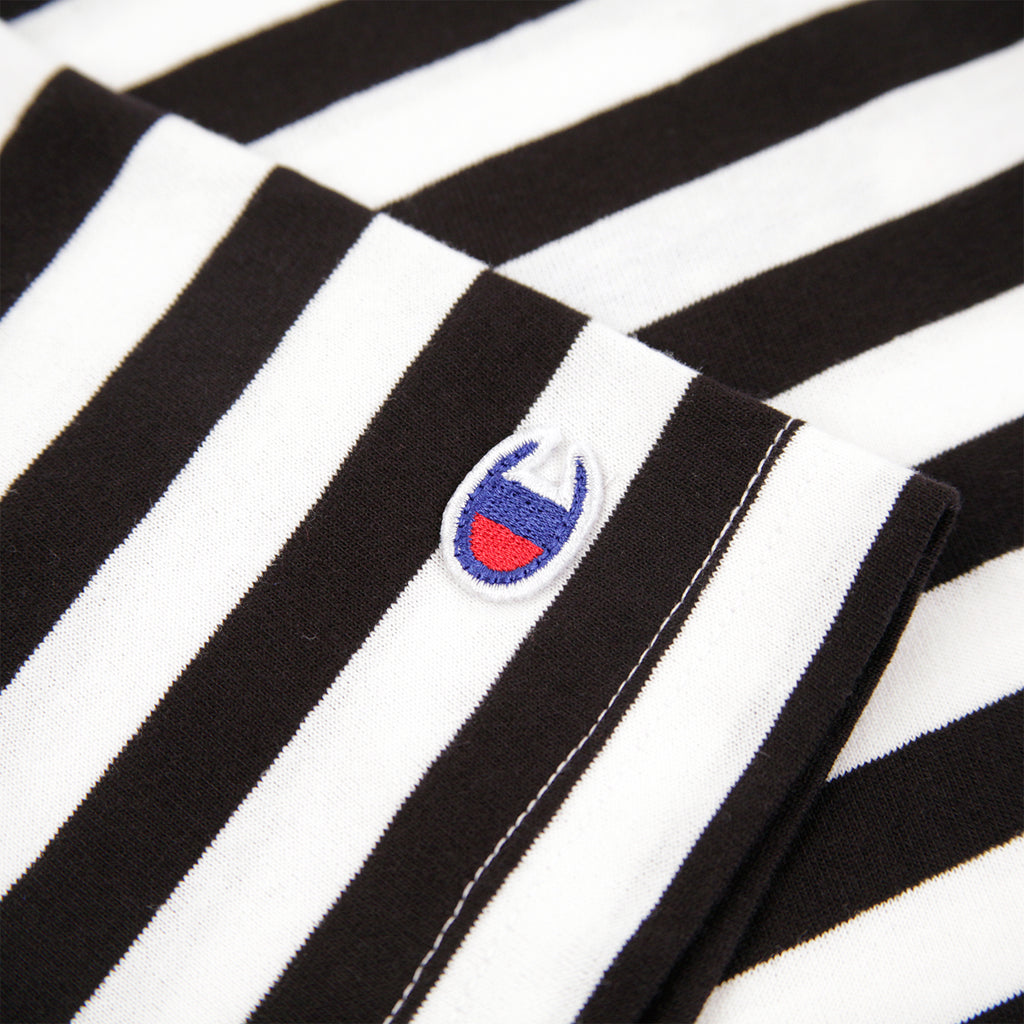 Champion Reverse Weave Striped Script Logo T Shirt in Black / White - Patch