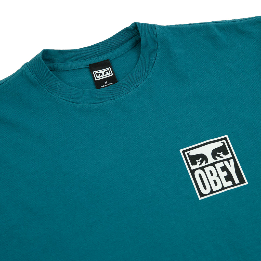 Obey Clothing Eyes Icon 2 T Shirt in Eucalyptus - Collar