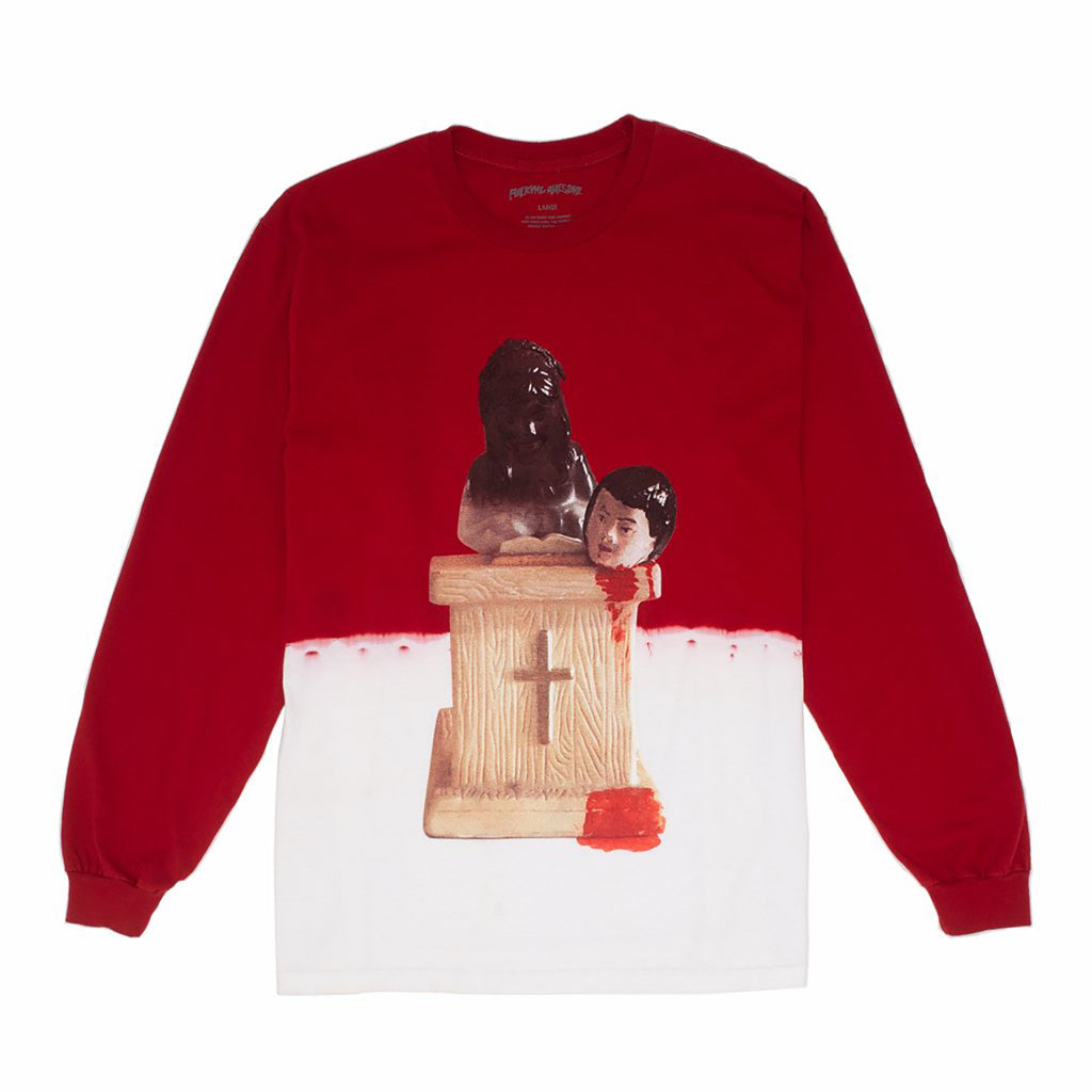 Fucking Awesome L/S Prey Bleach Dip Dyed T Shirt in Scarlet Red