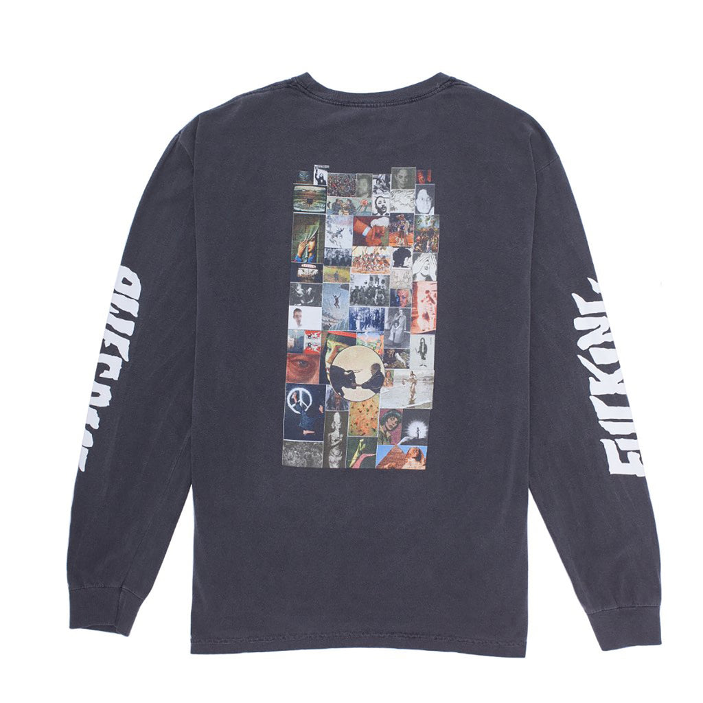 Fucking Awesome L/S Collage T Shirt in Pigment Dyed Pepper