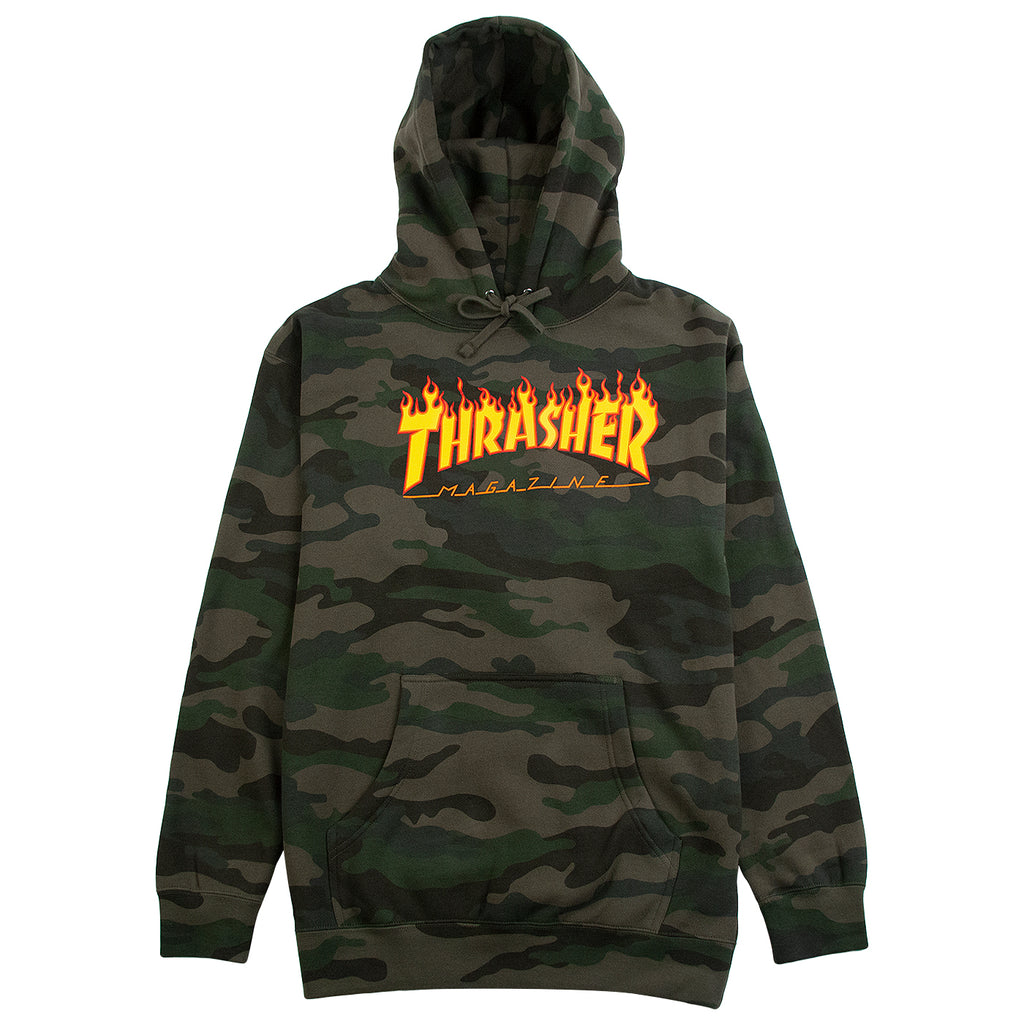 Thrasher Flame Hoodie in Forest Camo