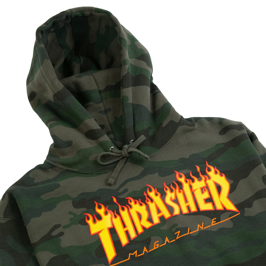 Thrasher Flame Hoodie in Forest Camo - Detail