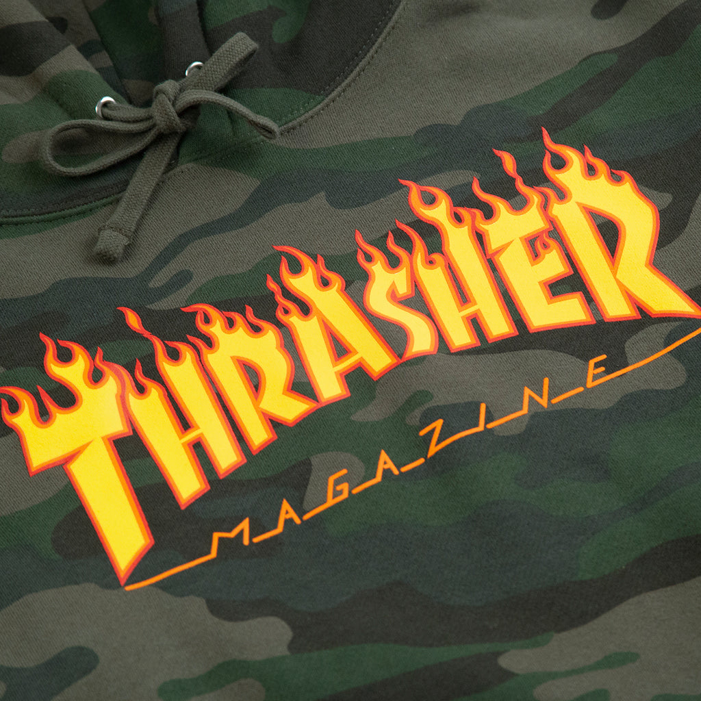 Thrasher Flame Hoodie in Forest Camo - Print