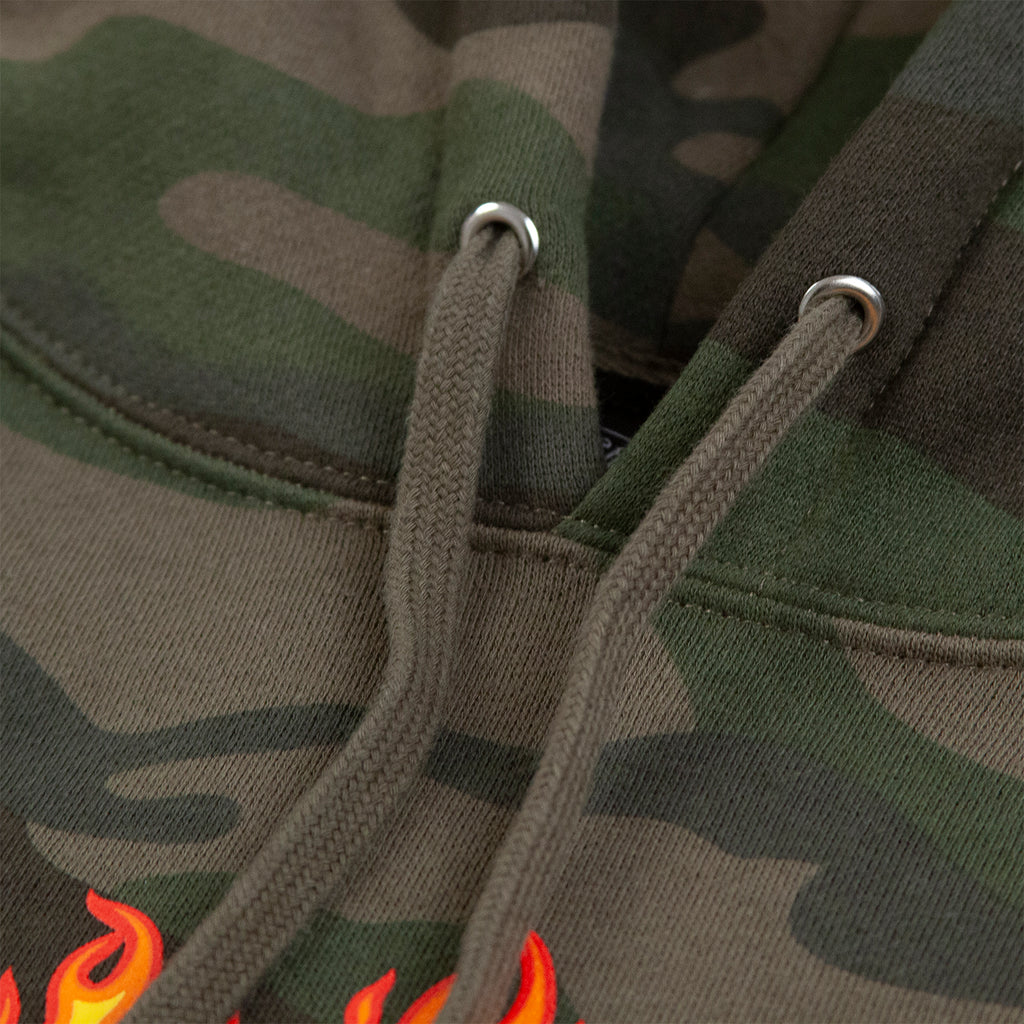 Thrasher Flame Hoodie in Forest Camo - Drawsting