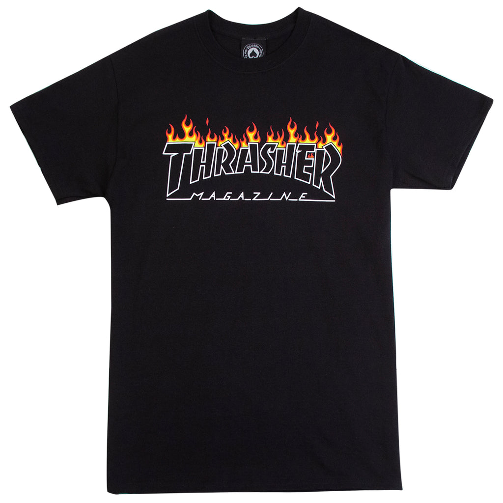 Thrasher Scorched Outline T Shirt in Black
