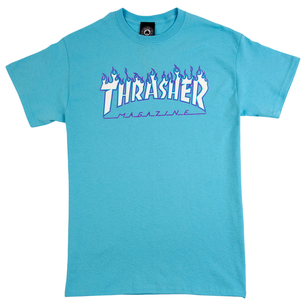 Thrasher Flame Logo T Shirt in Sky Blue