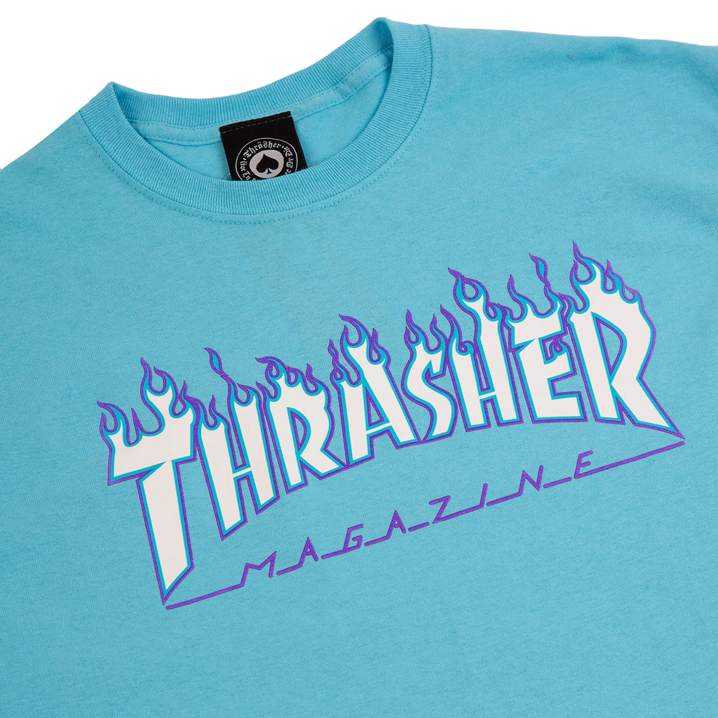 Thrasher Flame Logo T Shirt in Sky Blue - Detail