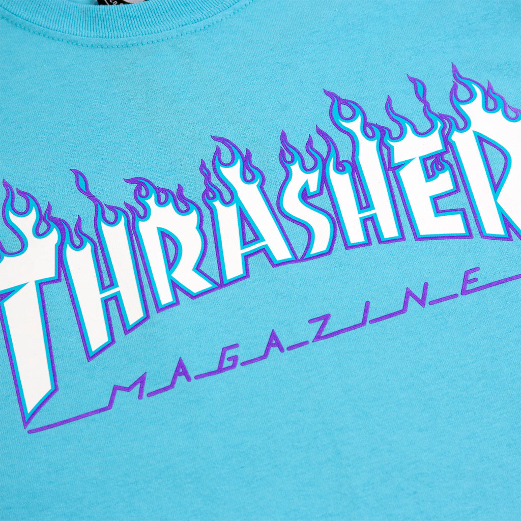 Thrasher Flame Logo T Shirt in Sky Blue - Print