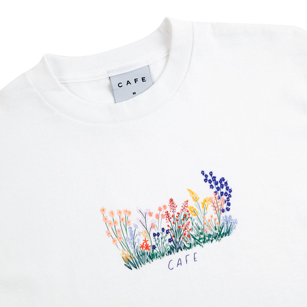 Skateboard Cafe Flower Bed T Shirt in White - Detail